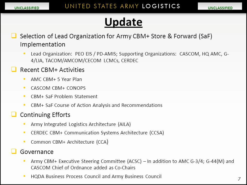 Update Selection of Lead Organization for Army CBM+ Store & Forward (SaF) Implementation.