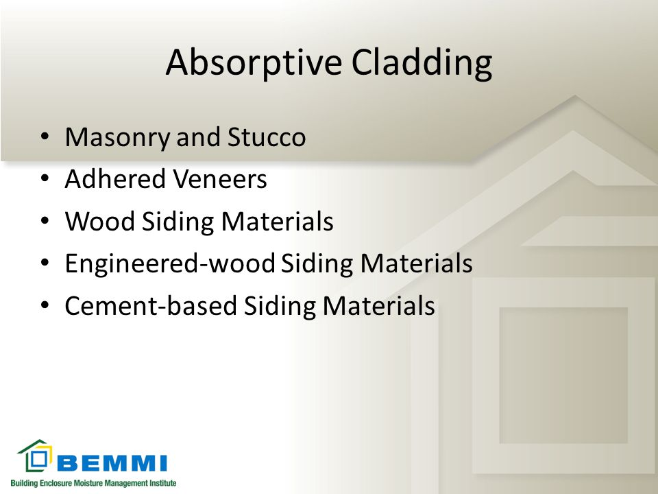 Absorptive Cladding Masonry and Stucco Adhered Veneers