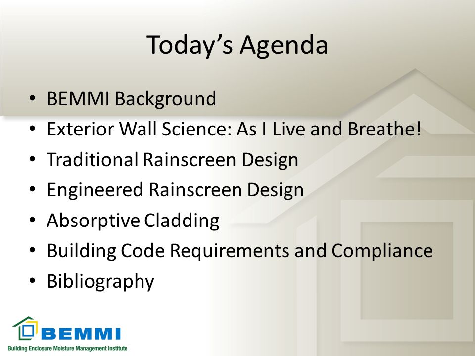 Today's Agenda BEMMI Background