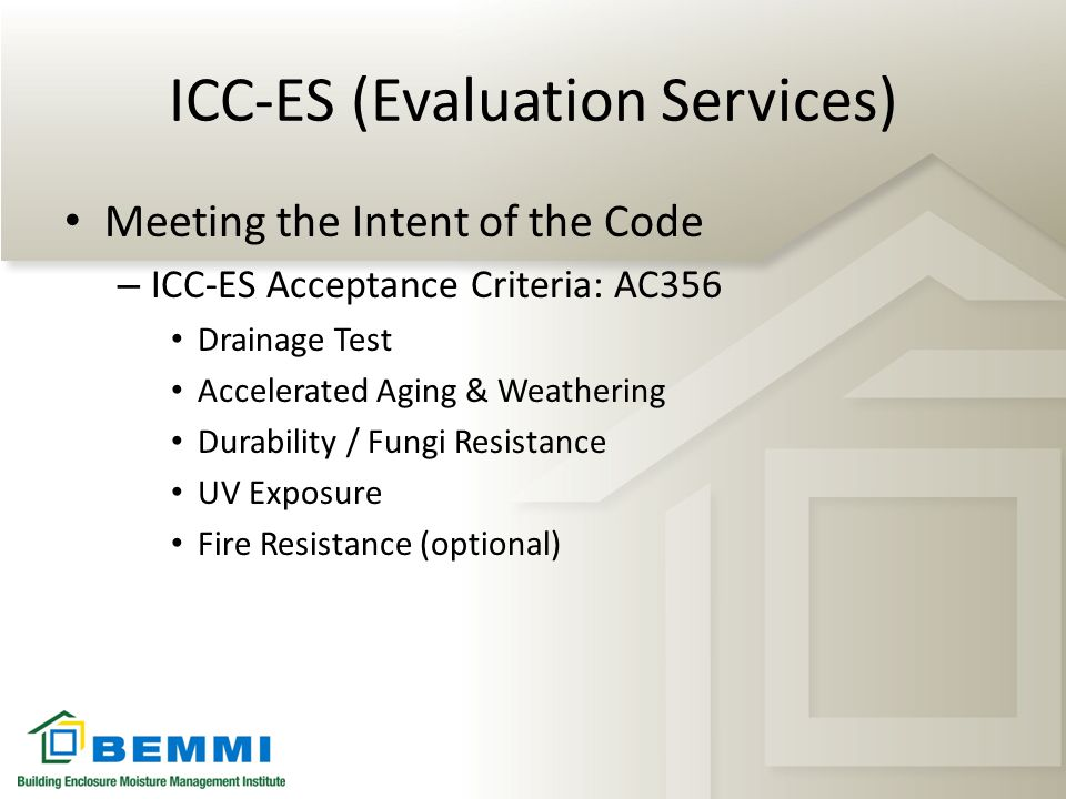 ICC-ES (Evaluation Services)