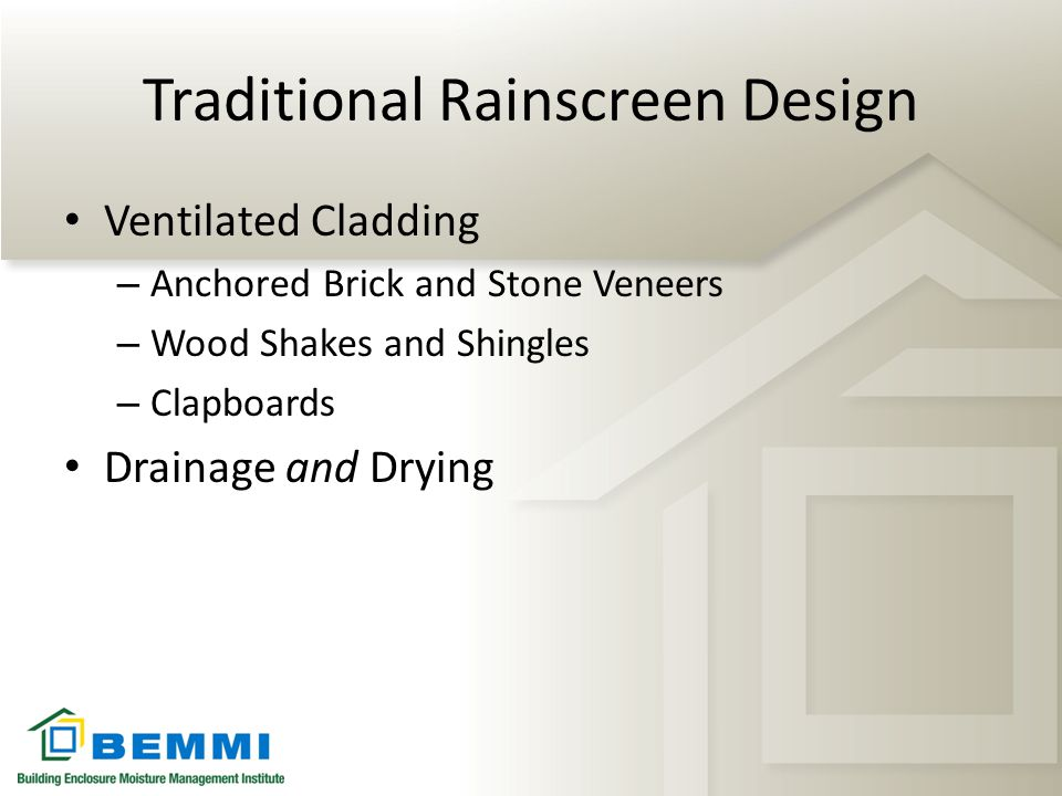 Traditional Rainscreen Design