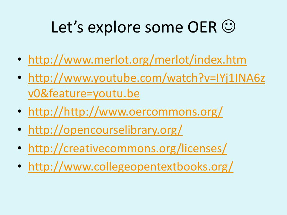 Let's explore some OER 