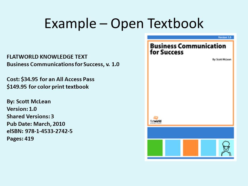 Example – Open Textbook