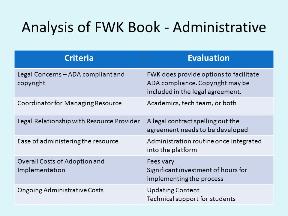 Analysis of FWK Book - Administrative