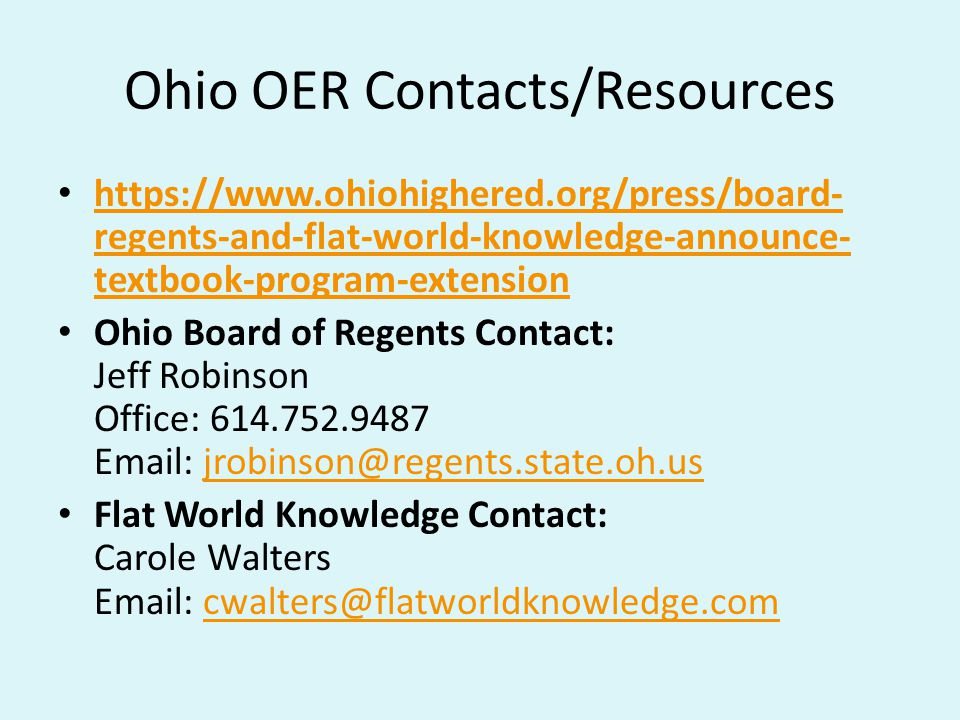 Ohio OER Contacts/Resources