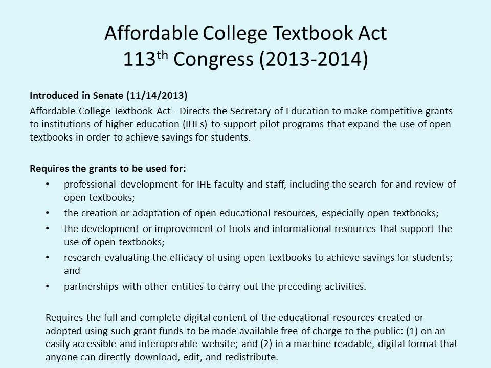 Affordable College Textbook Act 113th Congress (2013-2014)