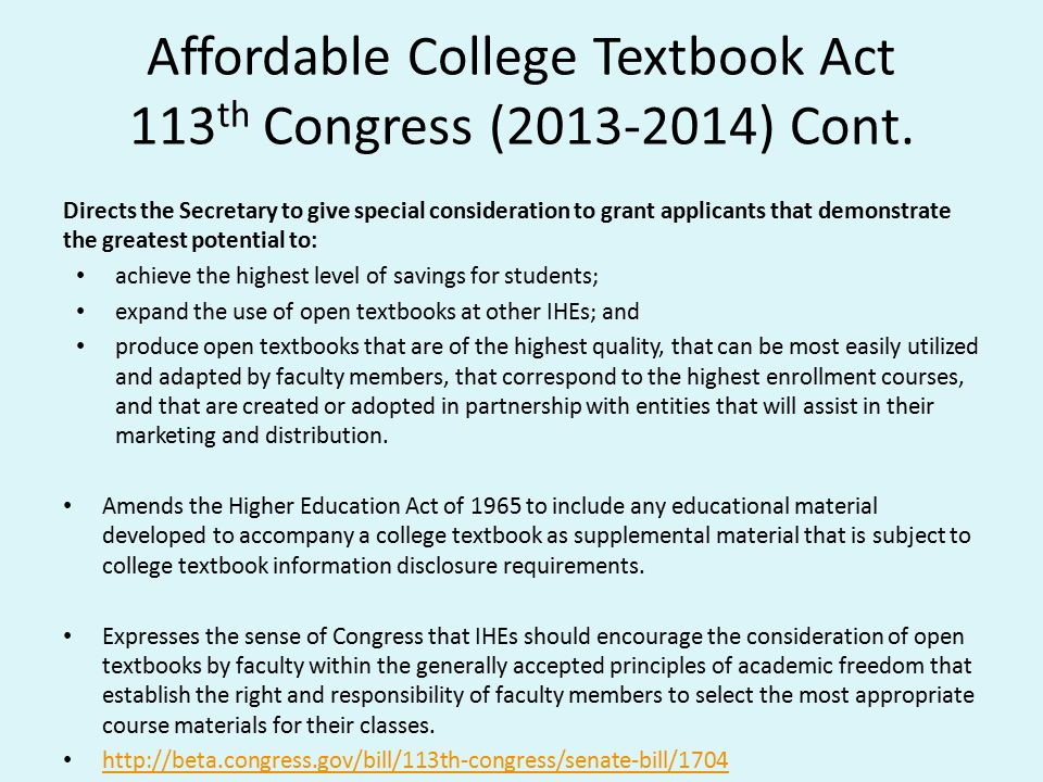 Affordable College Textbook Act 113th Congress (2013-2014) Cont.