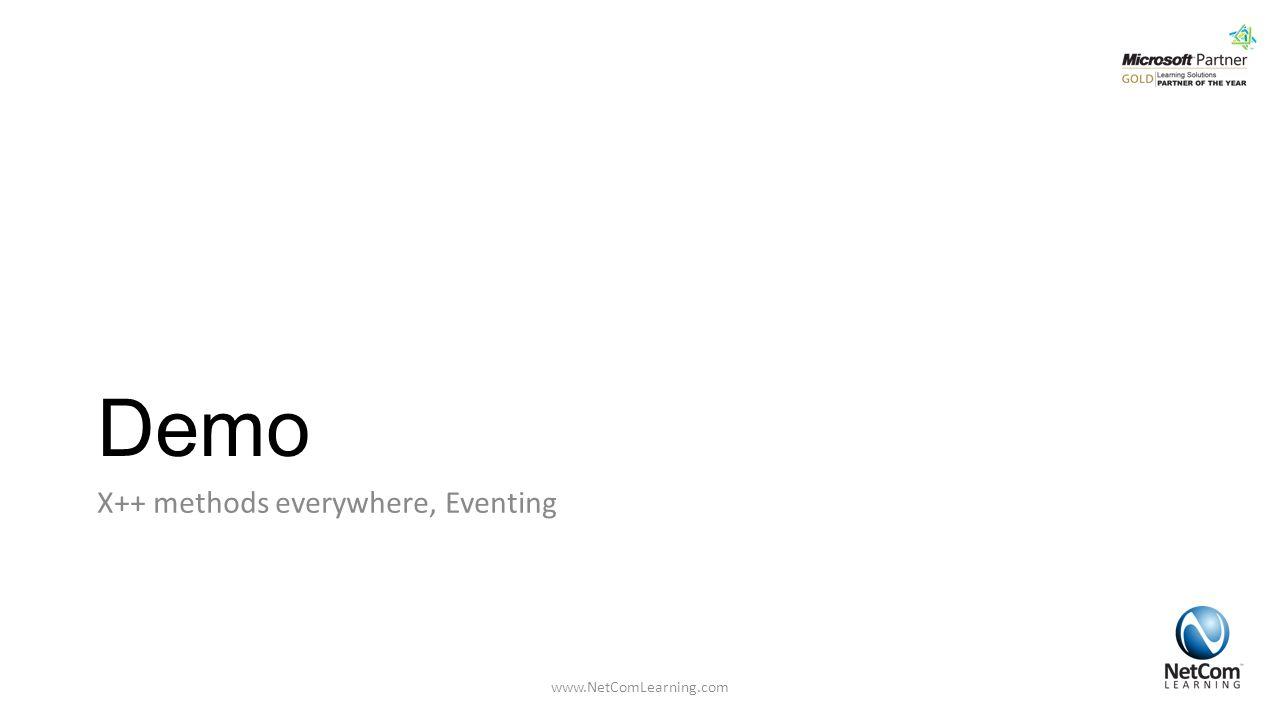 Demo X++ methods everywhere, Eventing www.NetComLearning.com