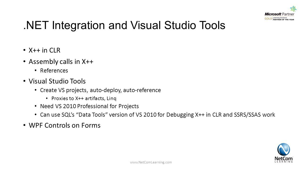 .NET Integration and Visual Studio Tools