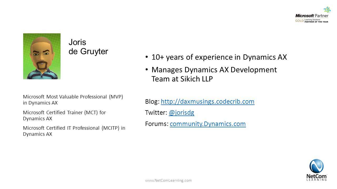 10+ years of experience in Dynamics AX