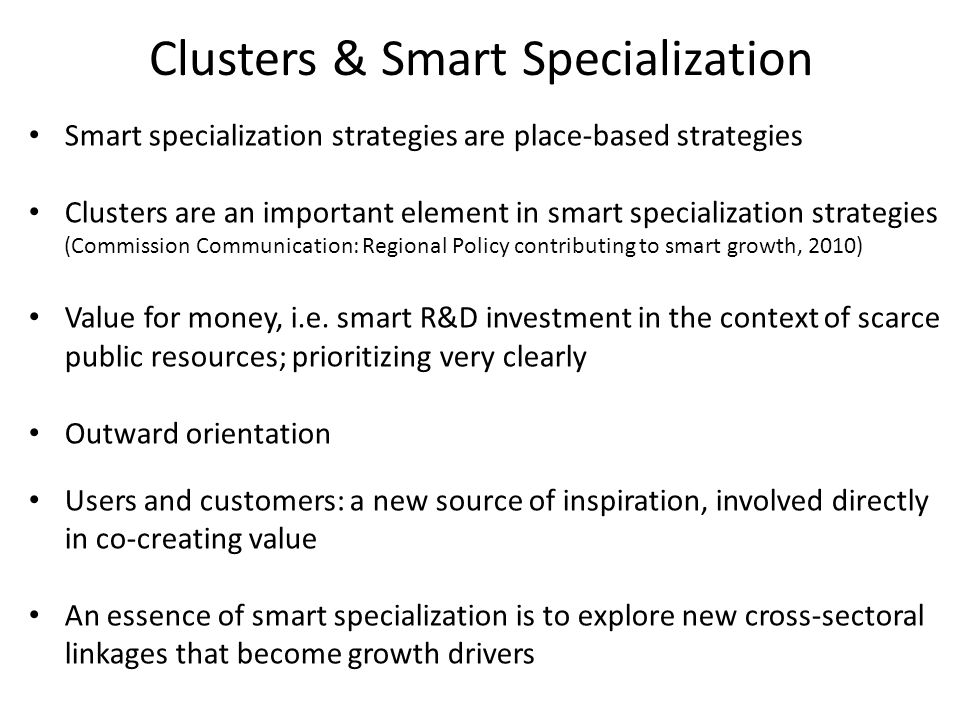 Clusters & Smart Specialization