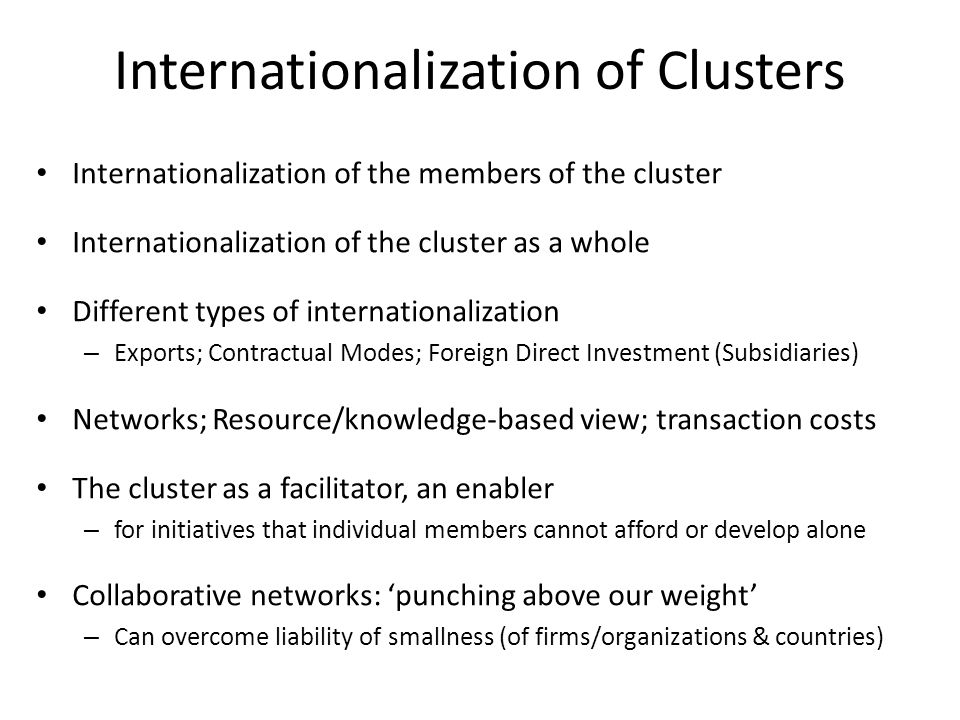 Internationalization of Clusters