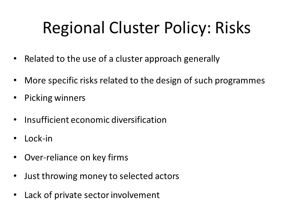 Regional Cluster Policy: Risks