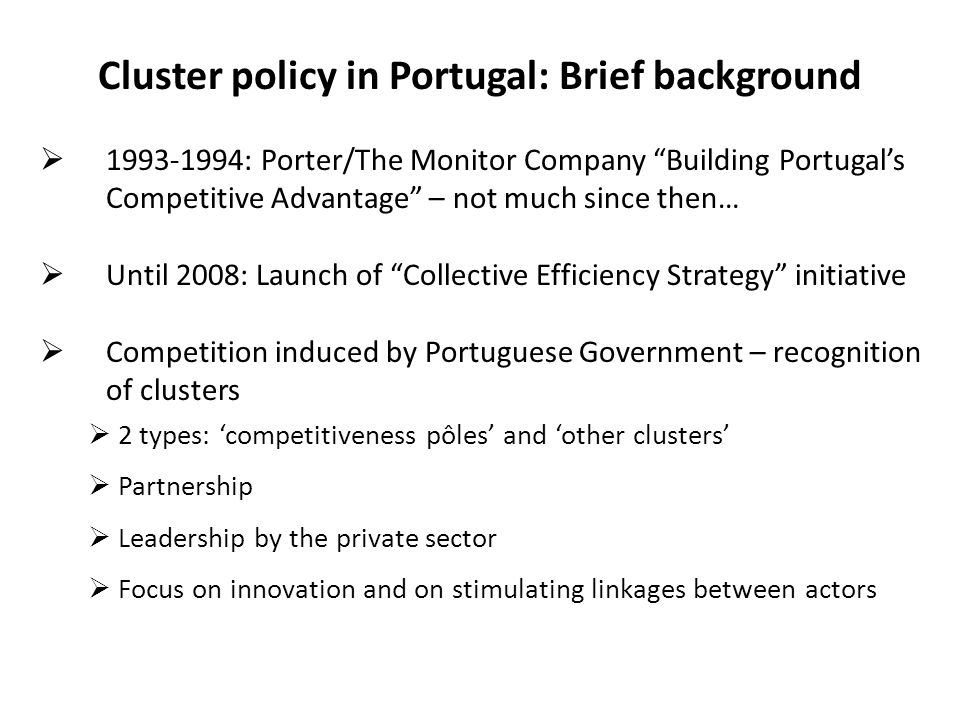 Cluster policy in Portugal: Brief background