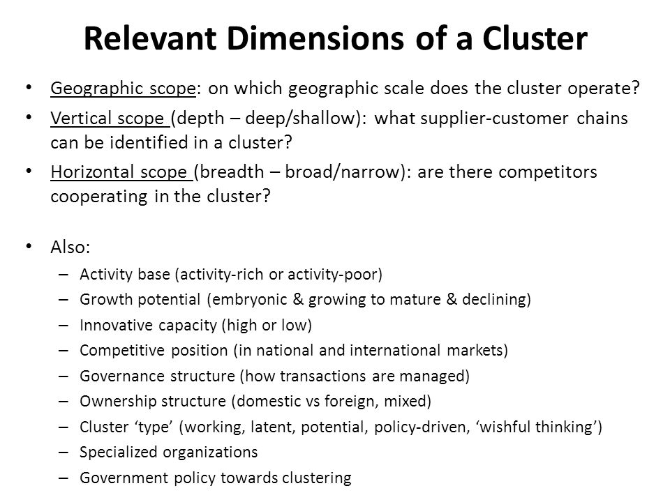Relevant Dimensions of a Cluster