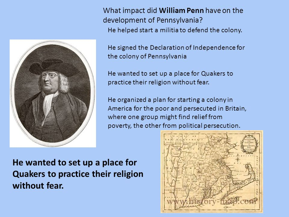 What impact did William Penn have on the development of Pennsylvania