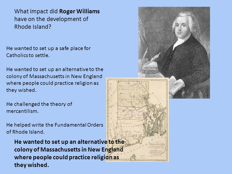 What impact did Roger Williams have on the development of Rhode Island