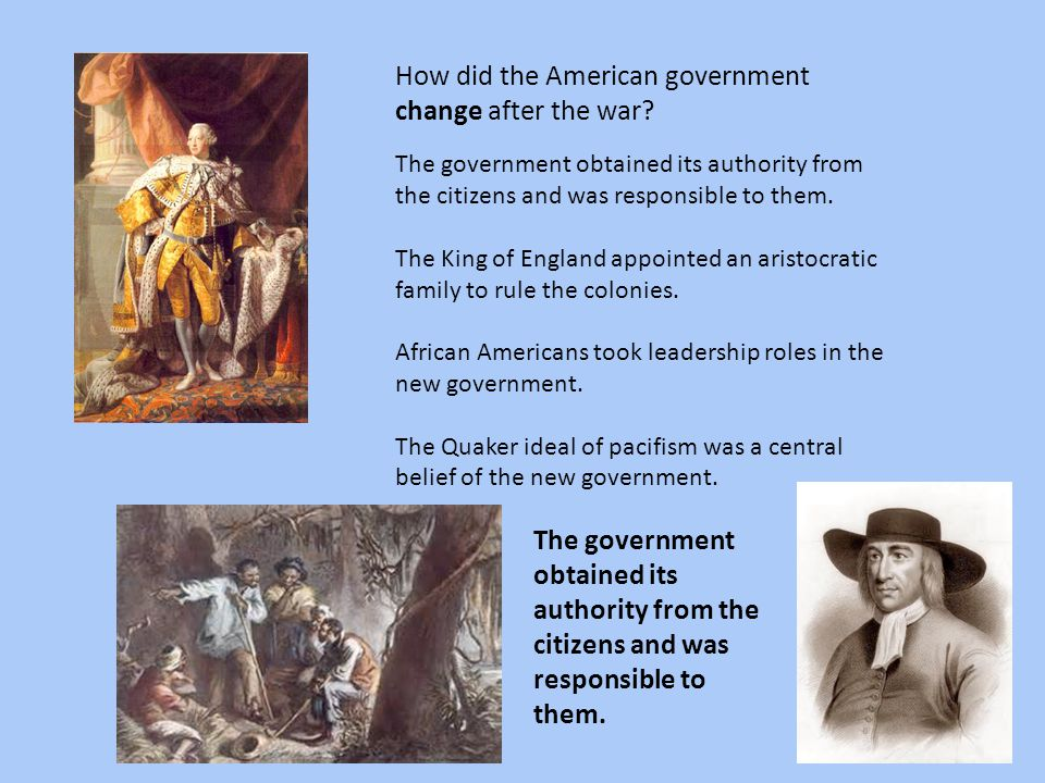 How did the American government change after the war
