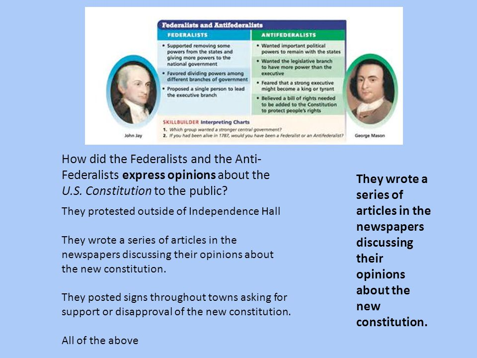 How did the Federalists and the Anti-Federalists express opinions about the U.S. Constitution to the public