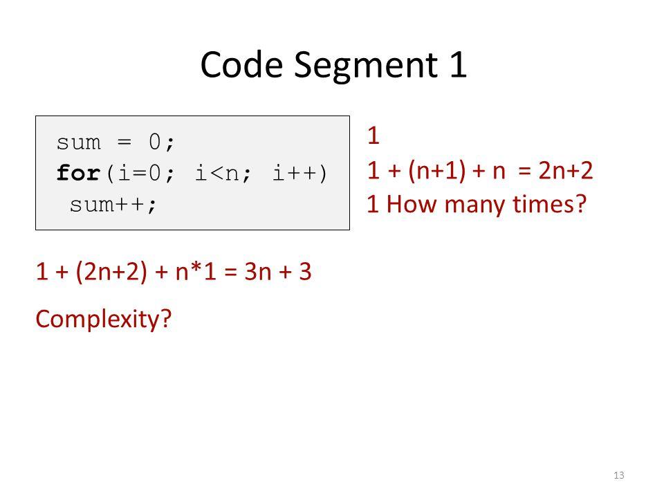 Code Segment 1 1 1 + (n+1) + n = 2n+2 1 How many times