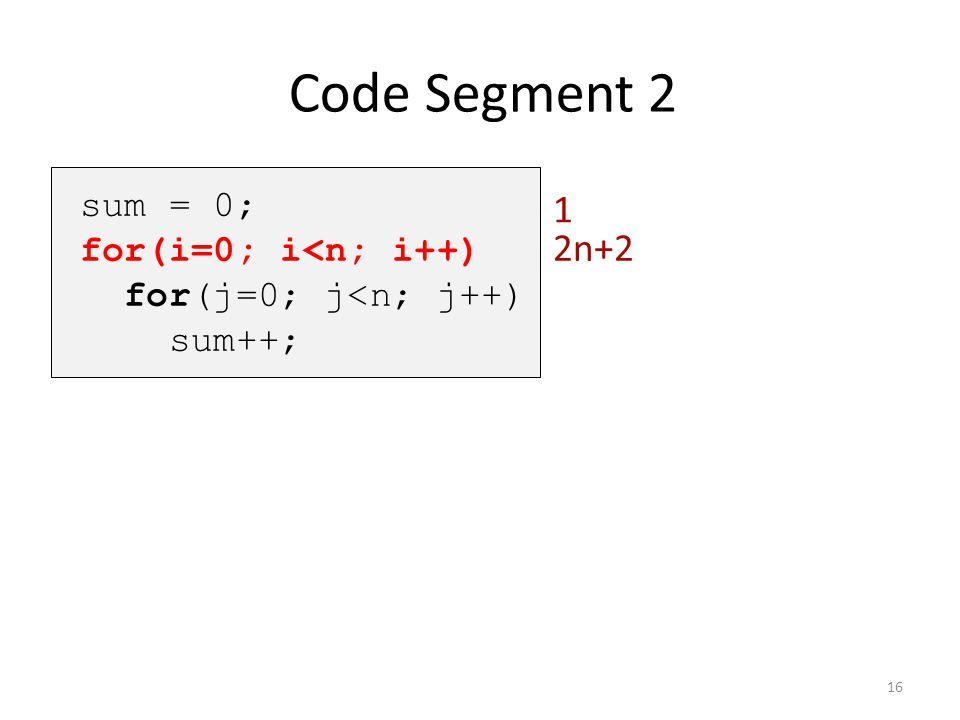 Code Segment 2 1 2n+2 sum = 0; for(i=0; i<n; i++)