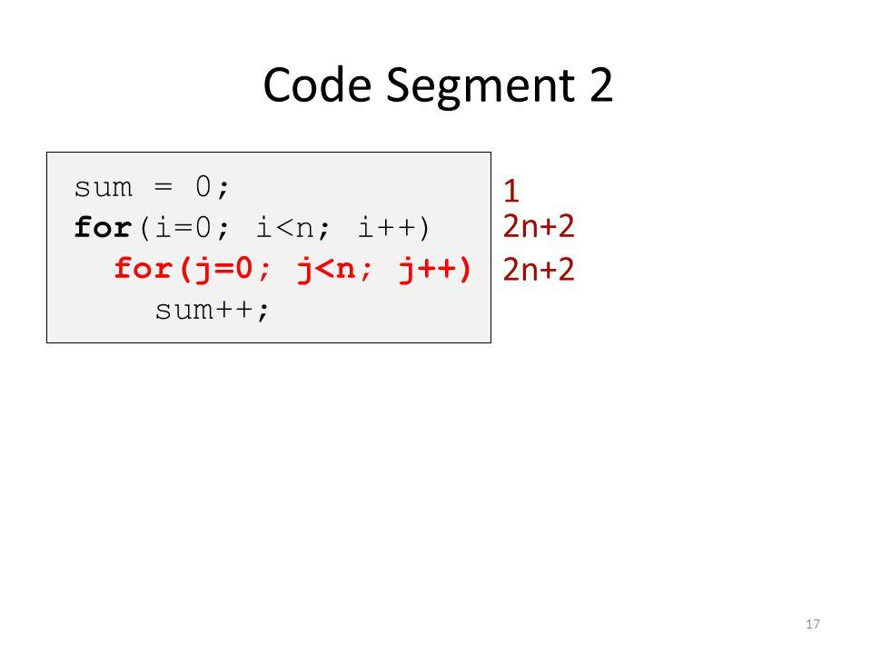 Code Segment 2 1 2n+2 2n+2 sum = 0; for(i=0; i<n; i++)