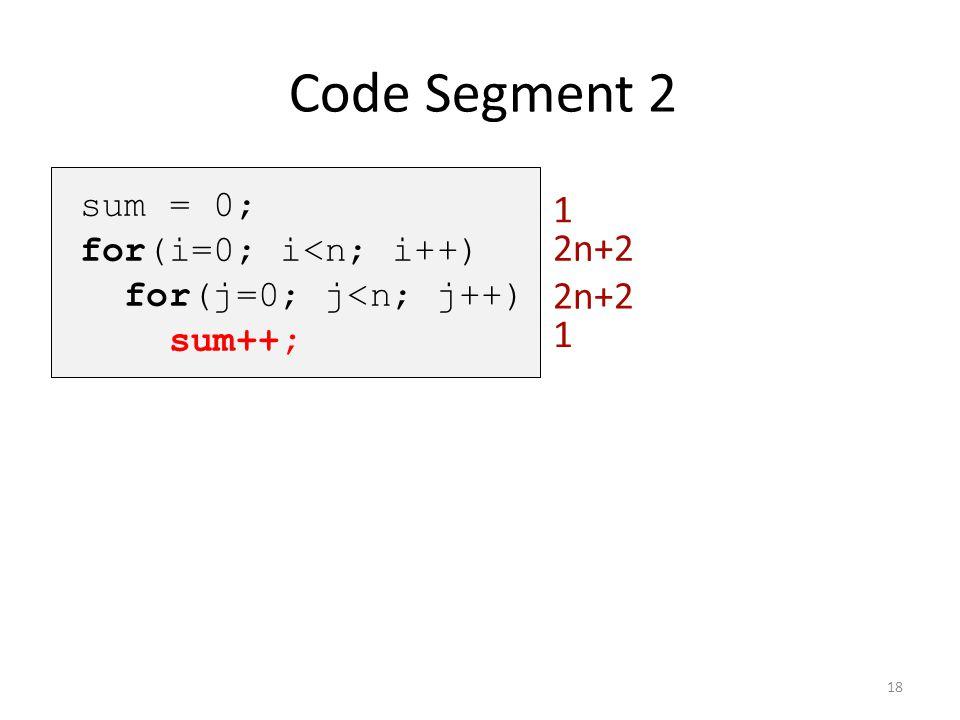 Code Segment 2 1 2n+2 2n+2 1 sum = 0; for(i=0; i<n; i++)