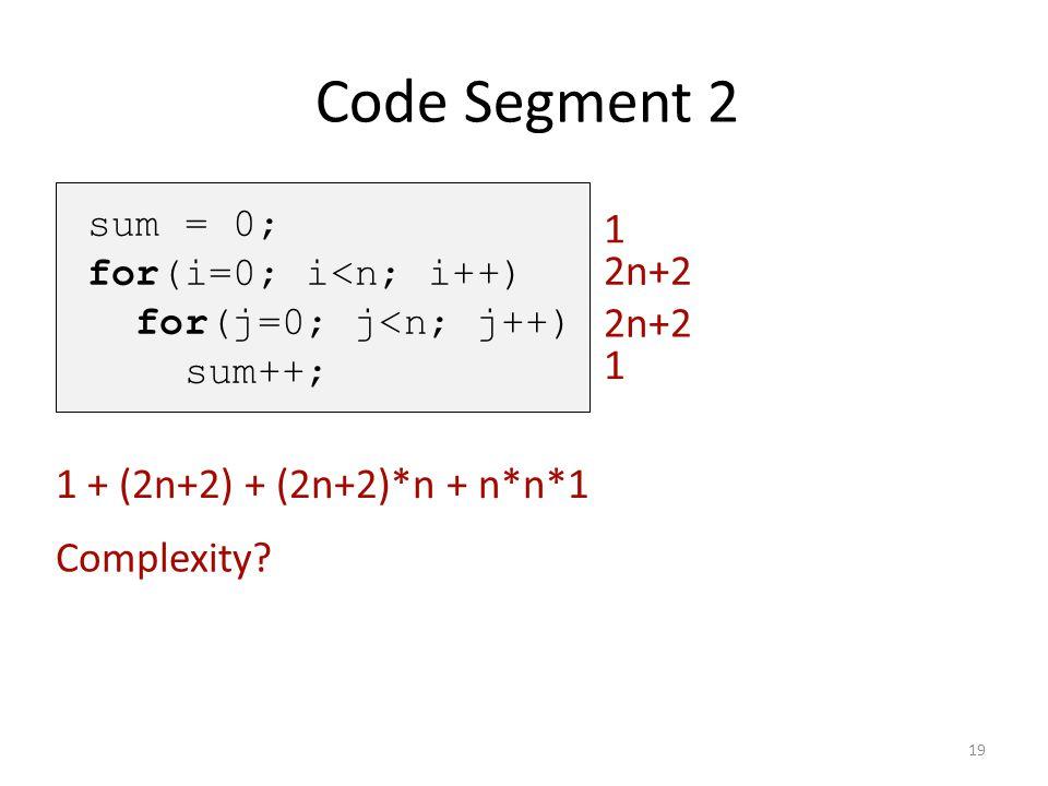 Code Segment 2 1 2n+2 2n+2 1 1 + (2n+2) + (2n+2)*n + n*n*1 Complexity