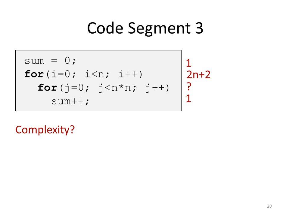 Code Segment 3 1 2n+2 1 Complexity sum = 0; for(i=0; i<n; i++)