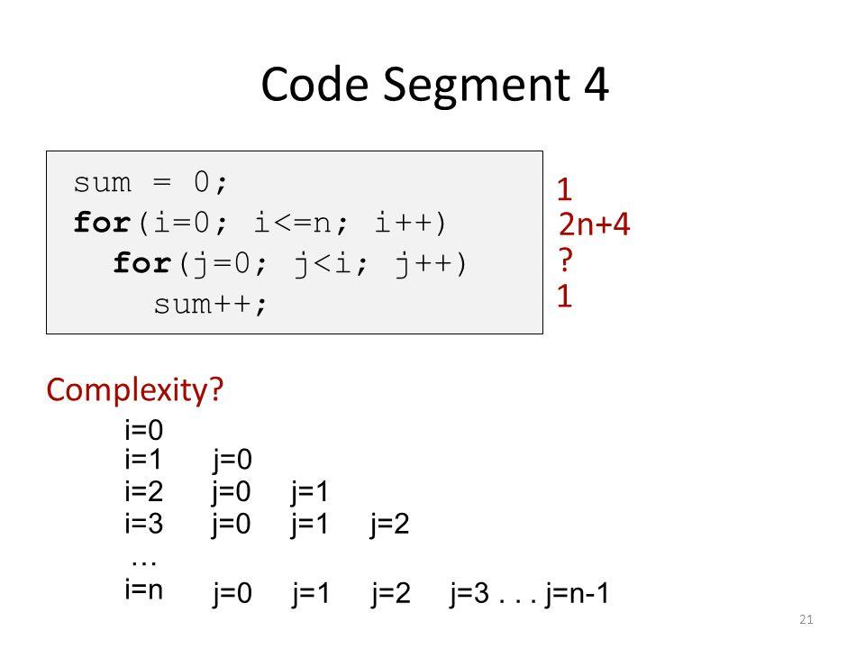Code Segment 4 1 2n+4 1 Complexity sum = 0; for(i=0; i<=n; i++)