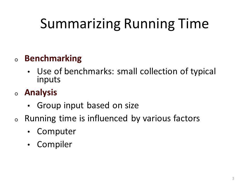Summarizing Running Time