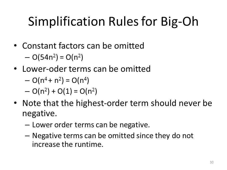 Simplification Rules for Big-Oh