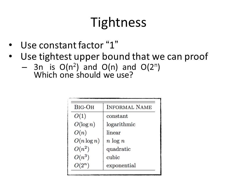 Tightness Use constant factor 1