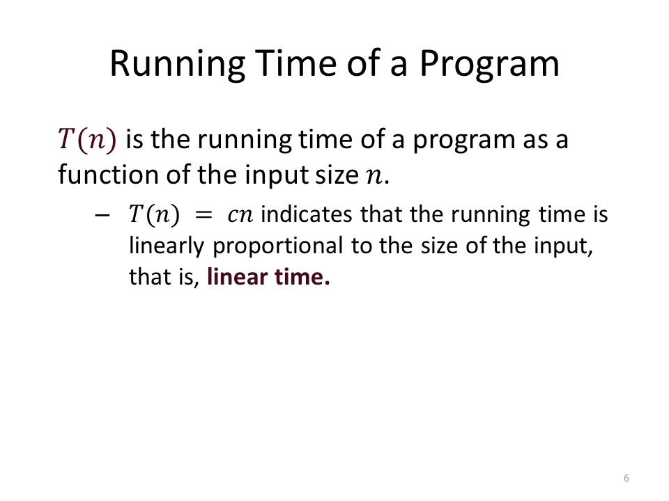 Running Time of a Program