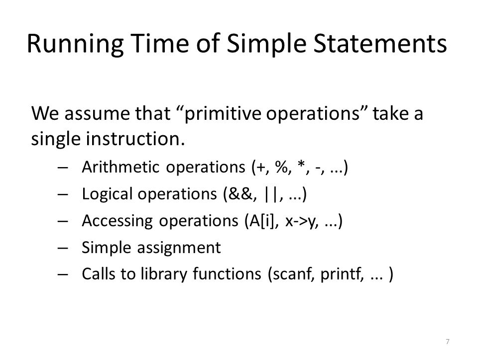 Running Time of Simple Statements