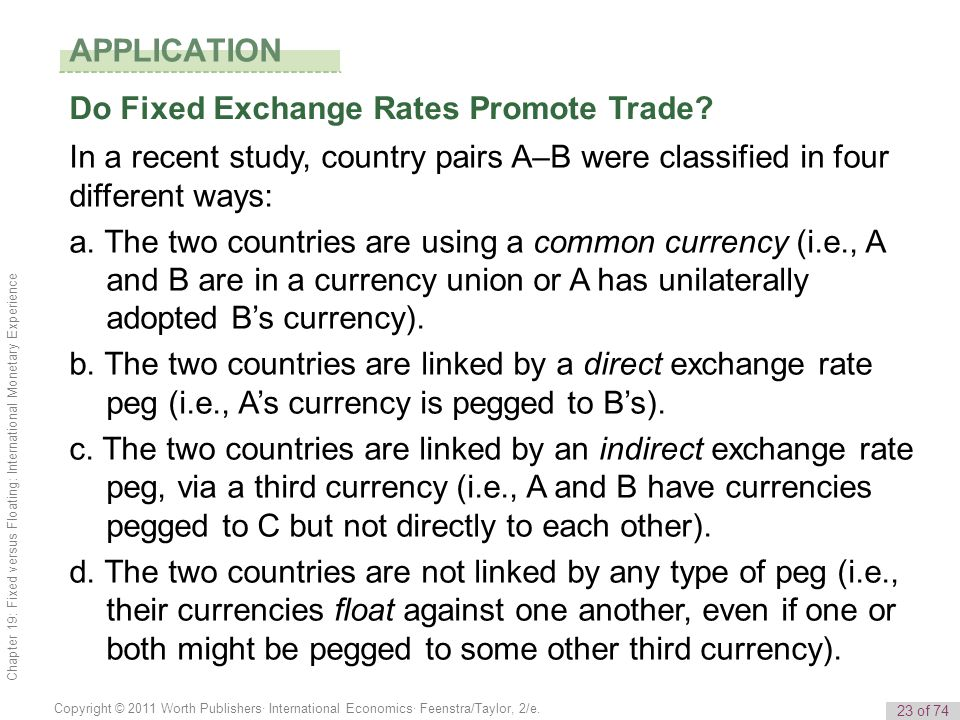APPLICATION Do Fixed Exchange Rates Promote Trade In a recent study, country pairs A–B were classified in four different ways: