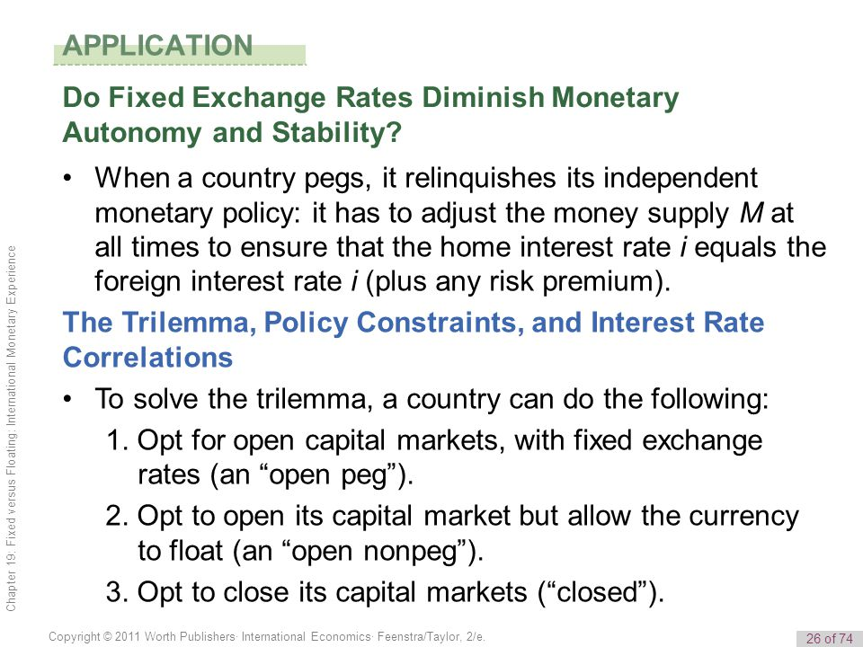 APPLICATION Do Fixed Exchange Rates Diminish Monetary Autonomy and Stability