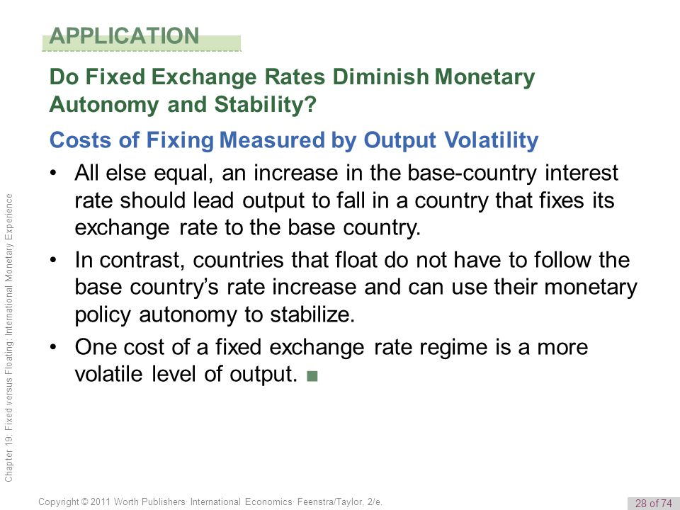 APPLICATION Do Fixed Exchange Rates Diminish Monetary Autonomy and Stability Costs of Fixing Measured by Output Volatility.
