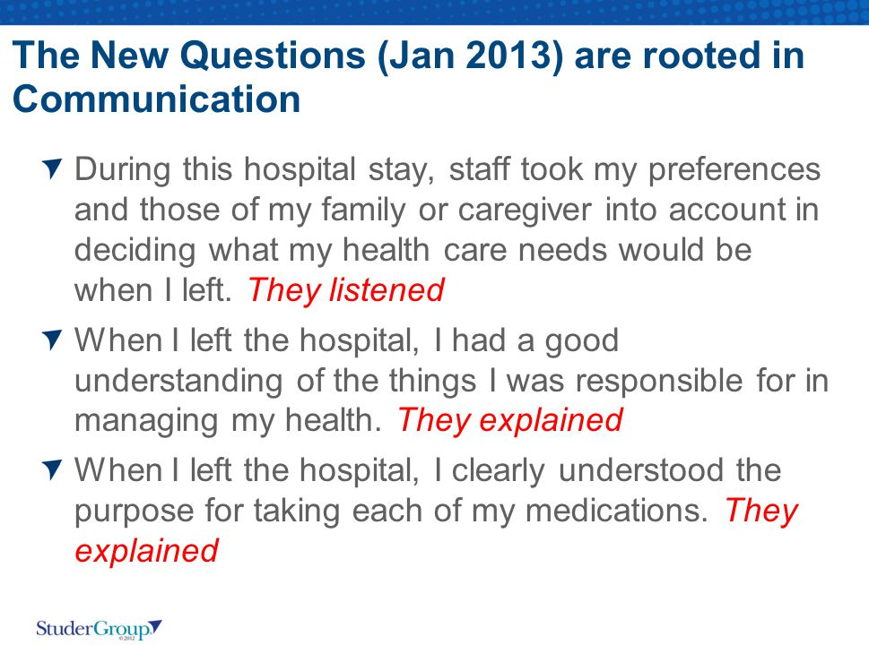 The New Questions (Jan 2013) are rooted in Communication