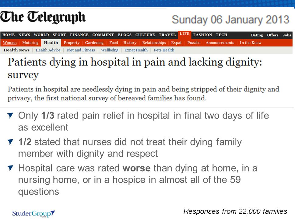 Only 1/3 rated pain relief in hospital in final two days of life as excellent