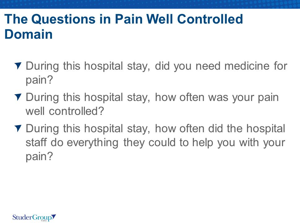 The Questions in Pain Well Controlled Domain