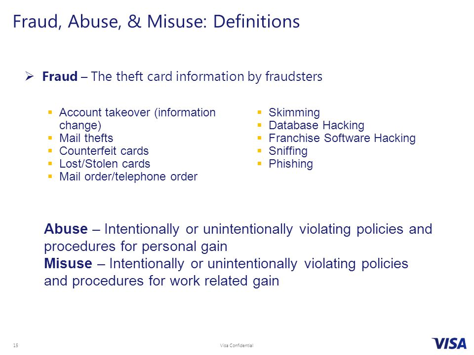 Fraud, Abuse, & Misuse: Definitions