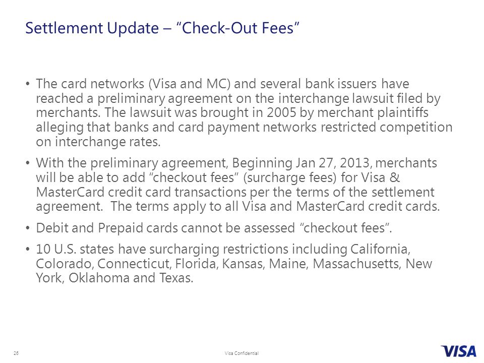 Settlement Update – Check-Out Fees