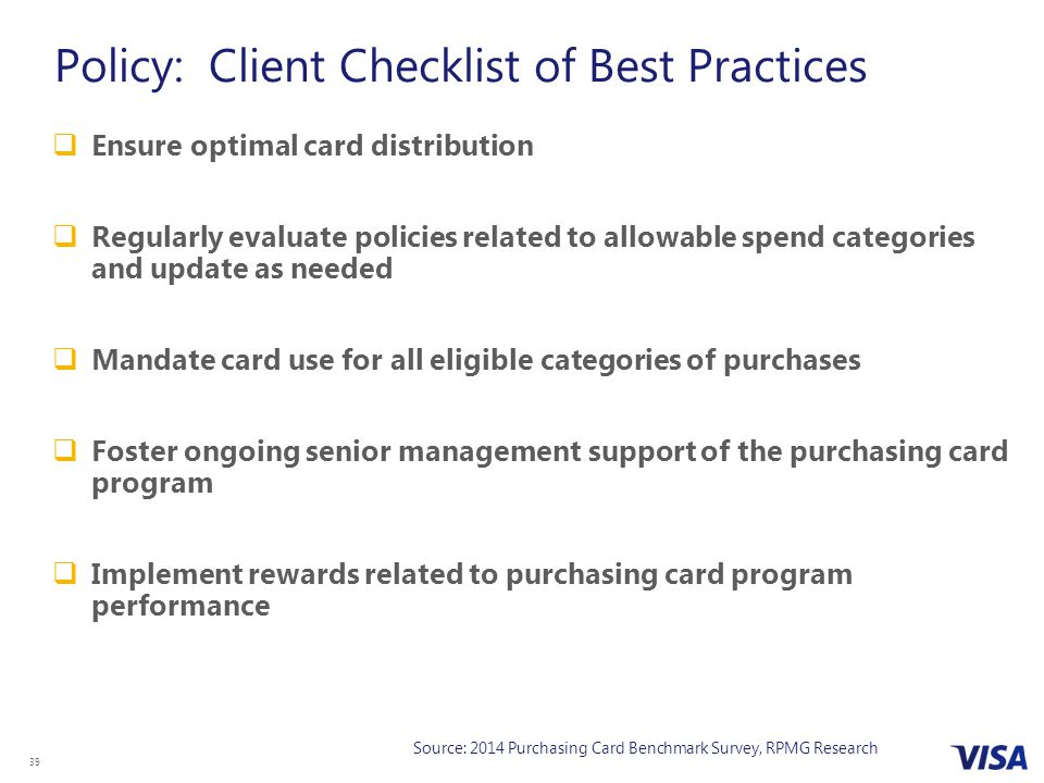 Policy: Client Checklist of Best Practices