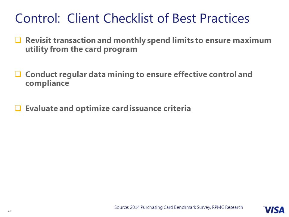 Control: Client Checklist of Best Practices
