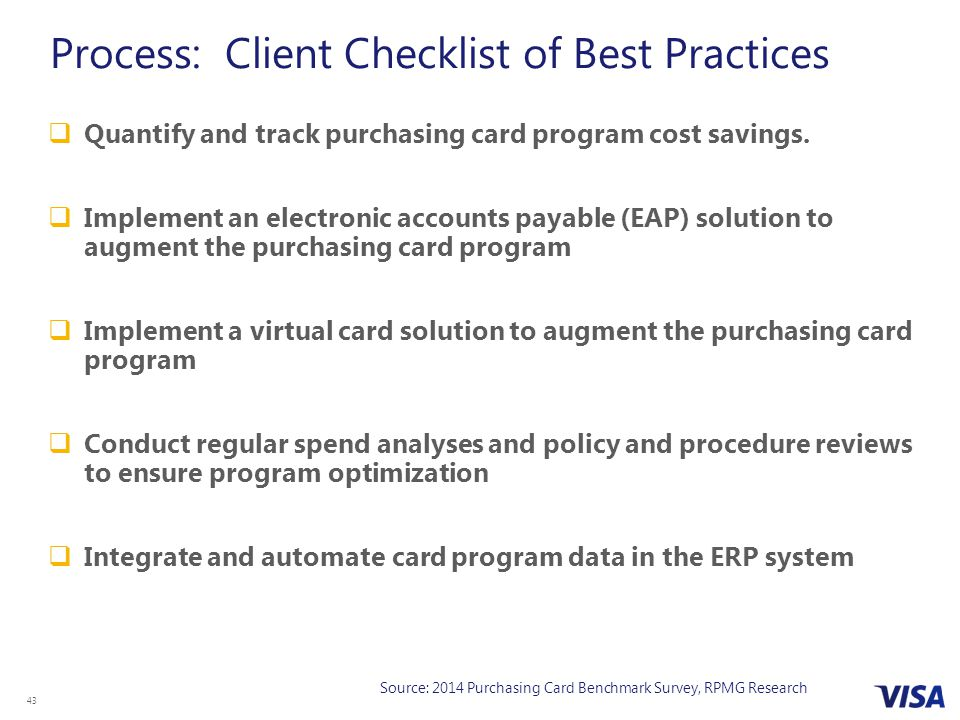 Process: Client Checklist of Best Practices