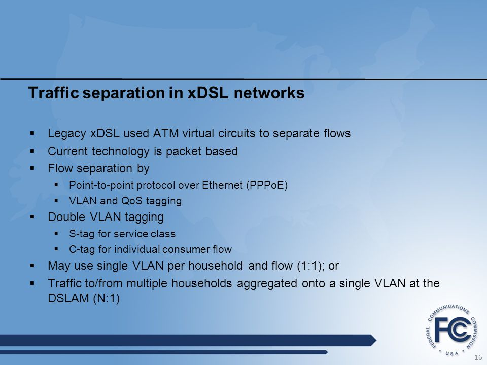 Traffic separation in xDSL networks