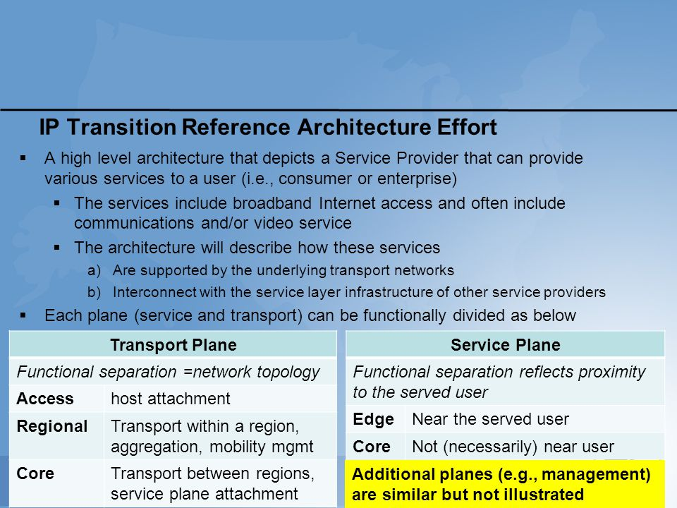 IP Transition Reference Architecture Effort