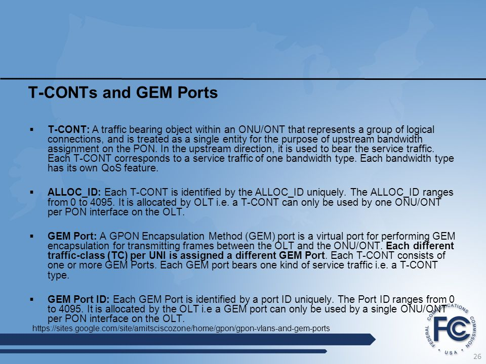 T-CONTs and GEM Ports