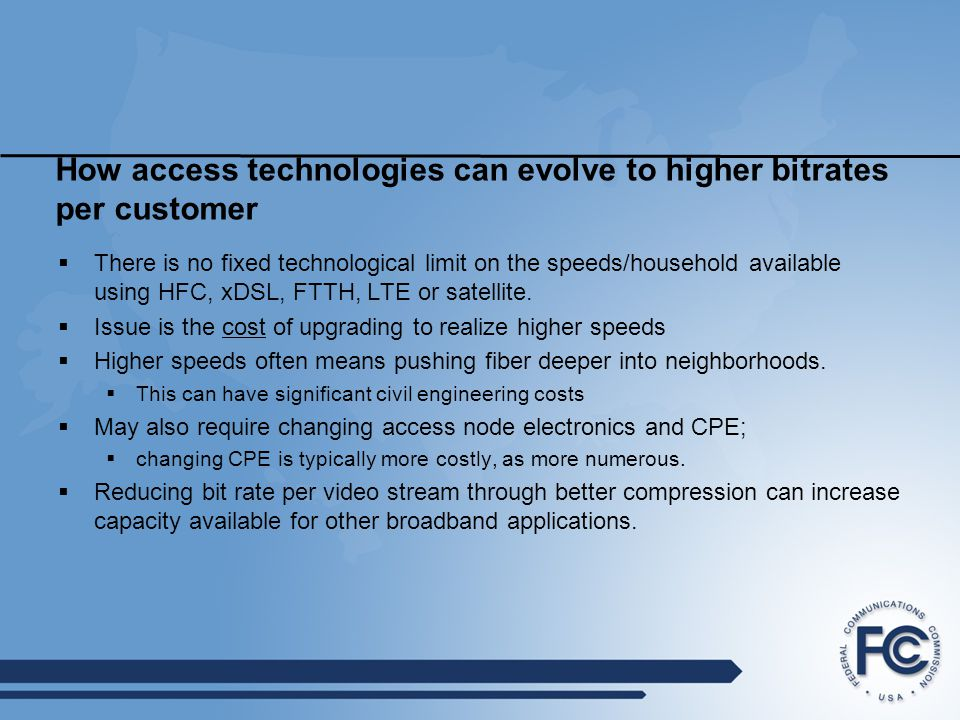 How access technologies can evolve to higher bitrates per customer